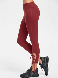 Flat Seams Side Tie Tight Yoga Leggings