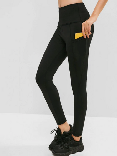Hidden Pocket High Waisted Skinny Leggings - Black
