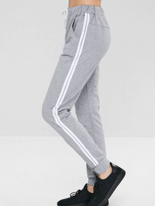 Striped Drawstring Pocket Jogger Pants