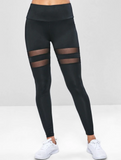 Wide Waistband Mesh Insert Gym Leggings