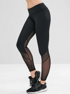 Perforated Mesh Panel Sports Leggings