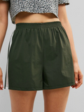 Color Block High Waisted Shorts - Dark Forest Green