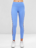 Cutout Interlace Side Spots Leggings - Sky Blue