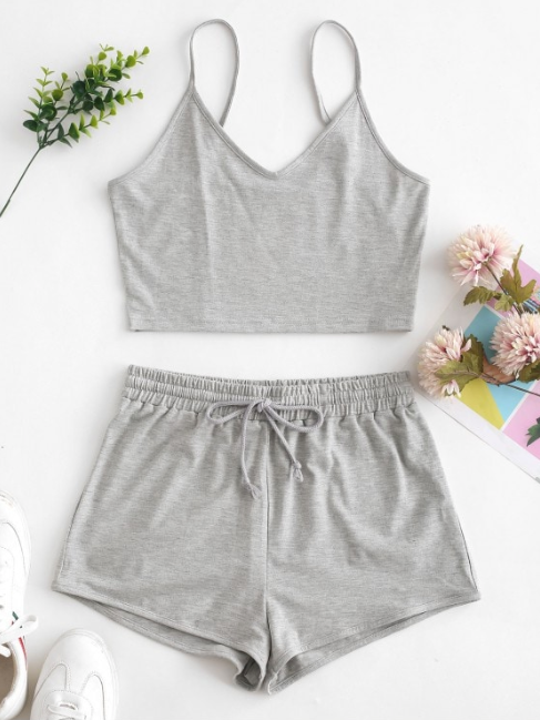 Solid Crop Cami Sports Two Pieces Suit