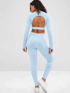 Cut Out Crop Gym Tee And Leggings Suit - Light Blue
