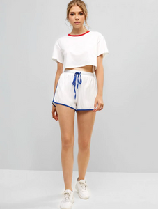Sports Cropped Tee And Dolphin Shorts Set