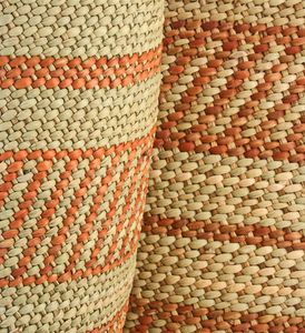 HAND WOVEN RED RING GRASS BASKET - MEDIUM