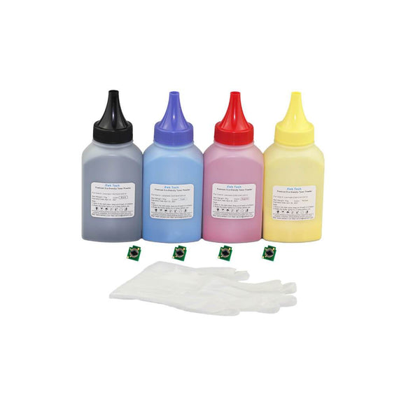 XWK Toner Powder Refill Kit for HP CM6030 CM6030f CM6040 CM6040f CM6040mfp 4 Colors With Chips NA