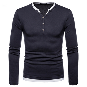 Fashion Long Sleeve Henley T-shirt