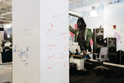 IdeaPaint CREATE White dry erase paint (whiteboard paint) installed in an office