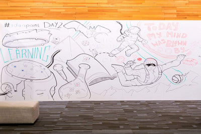IdeaPaint CREATE White dry erase paint (whiteboard paint) installed on a board creativity at its best