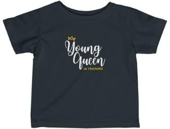 CLEARANCE Queen In Training - Blk & Gld Premium Tee (Infant - Teens)