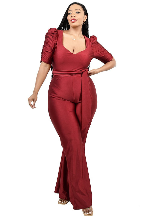 Burgundy Plus Size  Pant Set -  Mogul Boutique