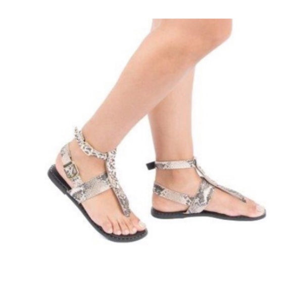 SnakeSkin Sandal with Ankle Strap -  Mogul Boutique