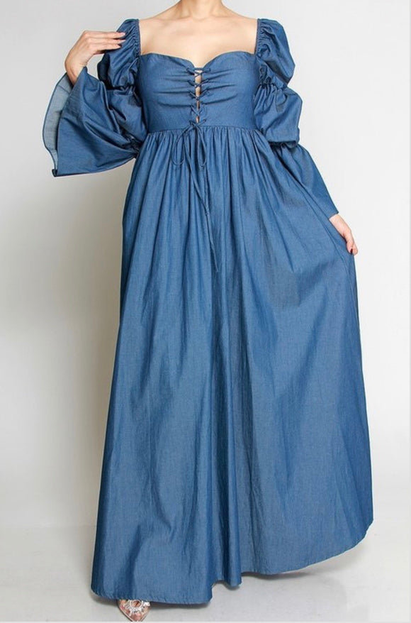 Off the Shoulder Denim Maxi -  Mogul Boutique