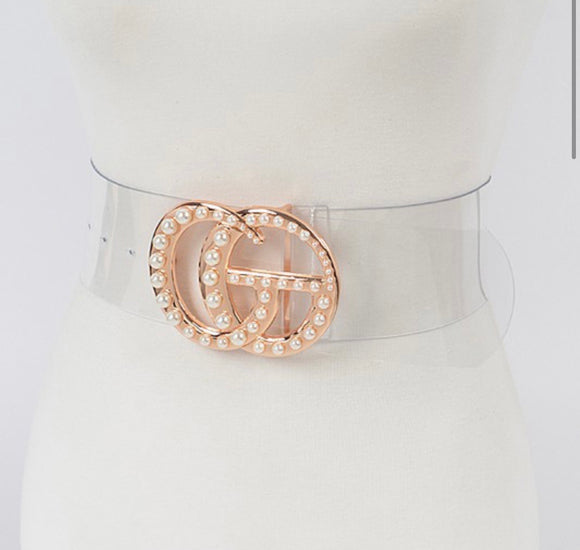 Clear Extra Wide Belt with Embellished Buckle