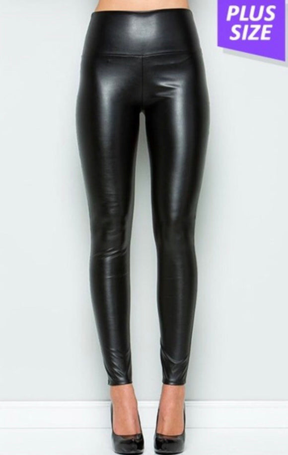 Plus Size Faux Leather Leggings -  Mogul Boutique