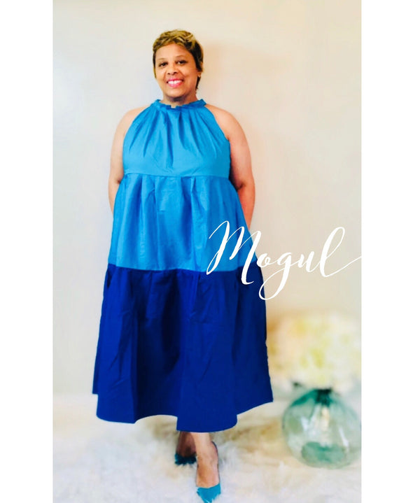 Multi-Blue Sleeveless Midi Dress -  Mogul Boutique