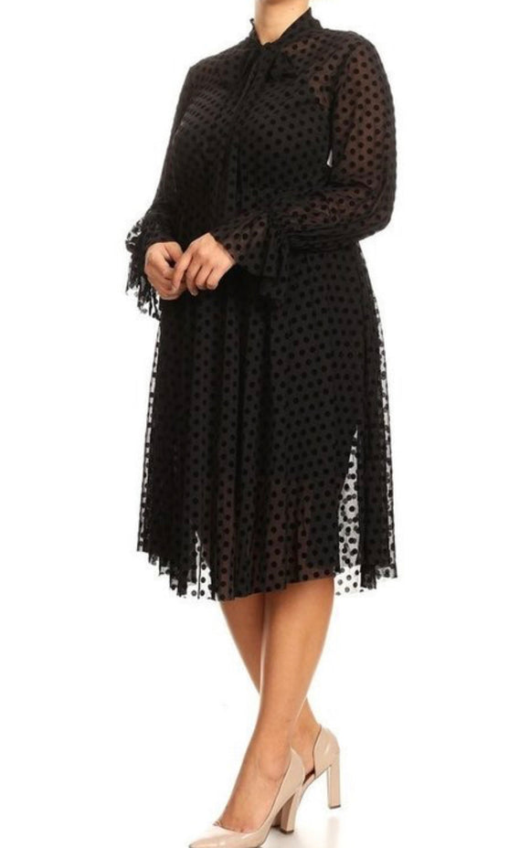 Plus Size Polka Dot Mesh Dress with Necktie -  Mogul Boutique