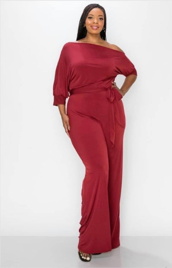 Plus Size Rust Jumpsuit -  Mogul Boutique