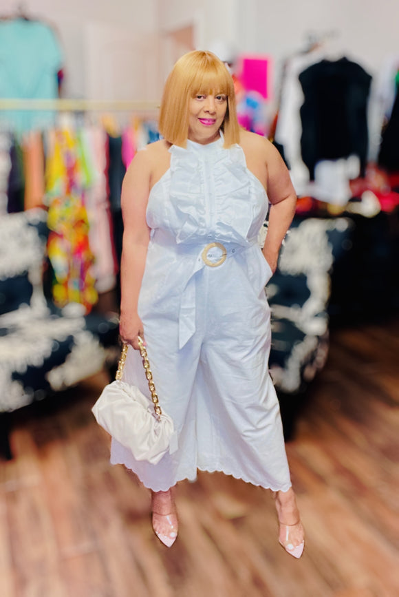 White Linen Halter Top Plus-size Size Jumpsuit -  Mogul Boutique
