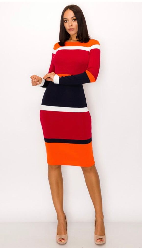 Multicolored Midi Bodycon Sweater Dress -  Mogul Boutique