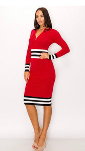 Red and Black Midi with Multi stripes -  Mogul Boutique