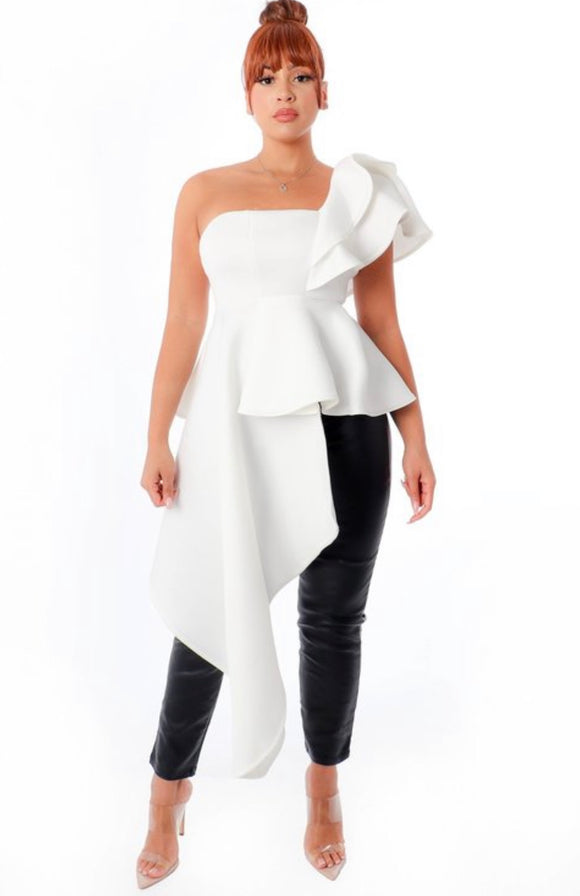 White Asymmetric Cold Shoulder Peplum Top