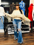 Distressed Jeans with Fringes -  Mogul Boutique