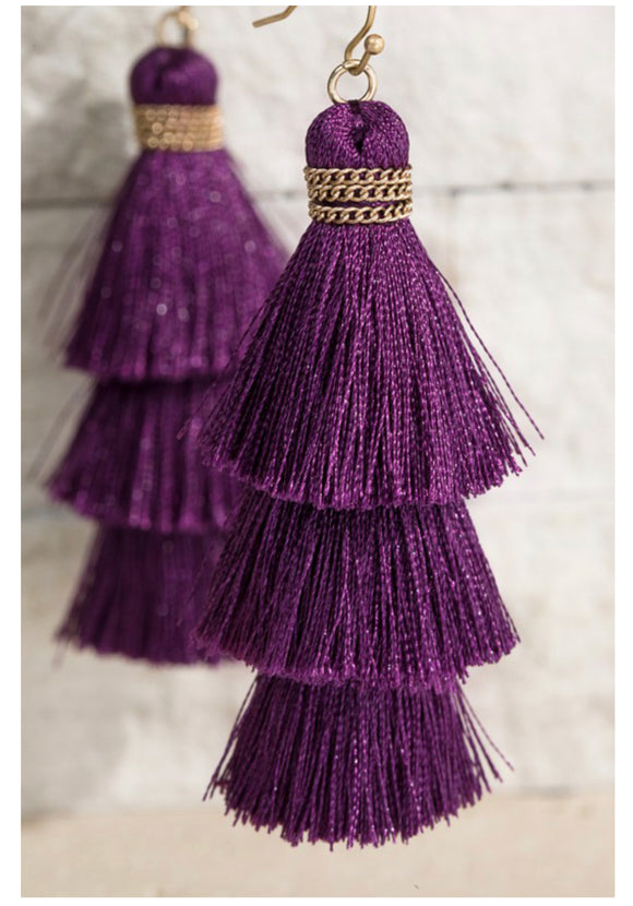 Plum Tassel Earrings