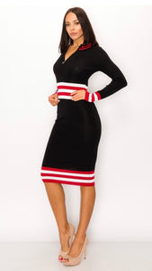 Black and Red Midi with Multi stripes -  Mogul Boutique