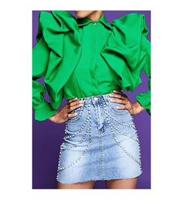Kelly Green Puff Sleeve Top -  Mogul Boutique
