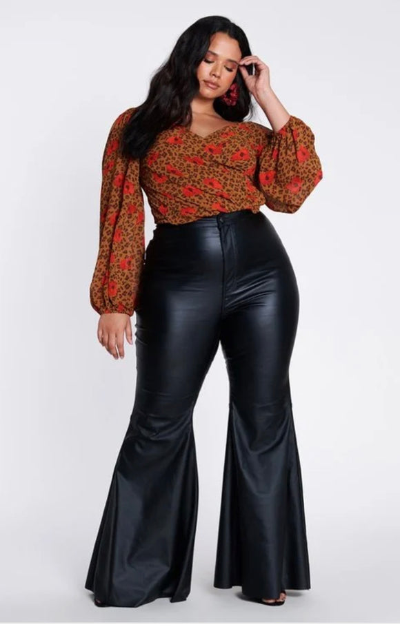Curvy Style Leather Bell Bottom Jeans -  Mogul Boutique