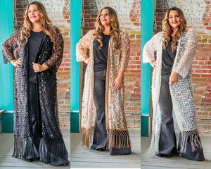 Sequin 3/4 sleeve duster with fringe hem. -  Mogul Boutique