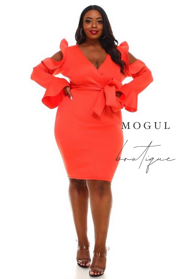 Plus Size Orange Bodycon with Cold Shoulder -  Mogul Boutique