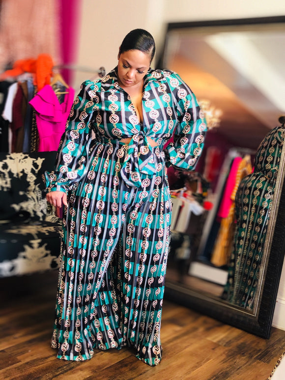 Green And Navy Print Palazzo Jumpsuit -  Mogul Boutique