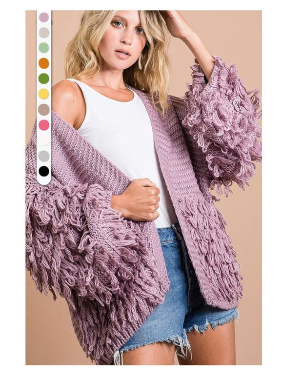 Oversized Lavender Shaggy Sweater -  Mogul Boutique