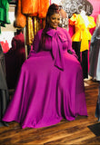 Purple Maxi with Tie Neck and Pockets -  Mogul Boutique
