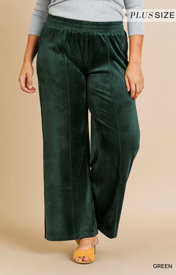 Plus Size Green Velvet Pants -  Mogul Boutique