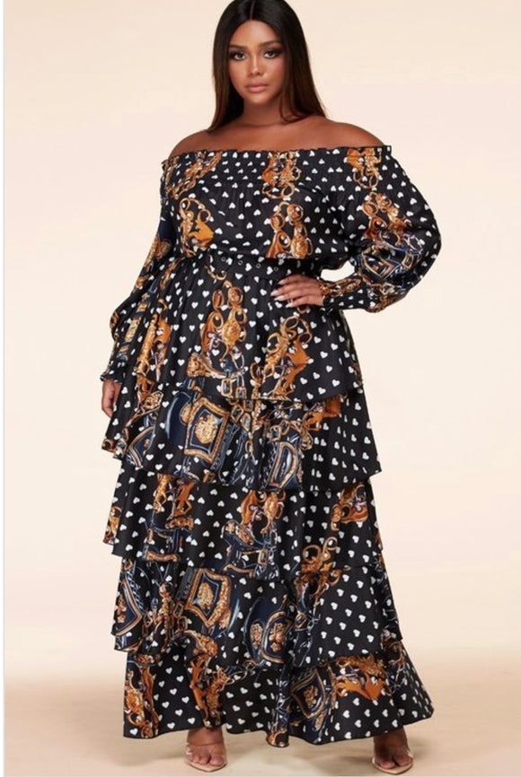 Multicolored Plus Size Smocked Off the Shoulder Maxi -  Mogul Boutique