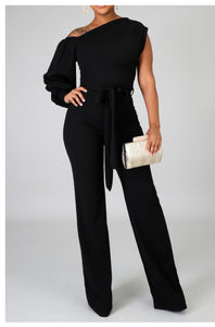 Black Cold Shoulder Jumpsuit -  Mogul Boutique