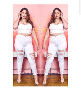 White Ripped Plus-size Skinny Jeans -  Mogul Boutique