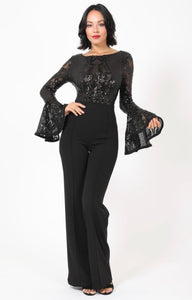 Black Lace Jumpsuit with Bell Sleeves -  Mogul Boutique
