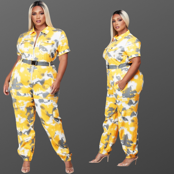 Plus Size Yellow  Multiprint Utility Jumpsuit with Belt -  Mogul Boutique