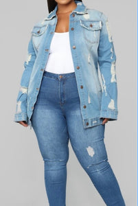 Denim Plus Size Jacket -  Mogul Boutique