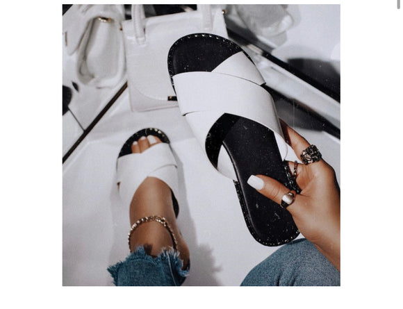 White Criss Cross Sliders -  Mogul Boutique