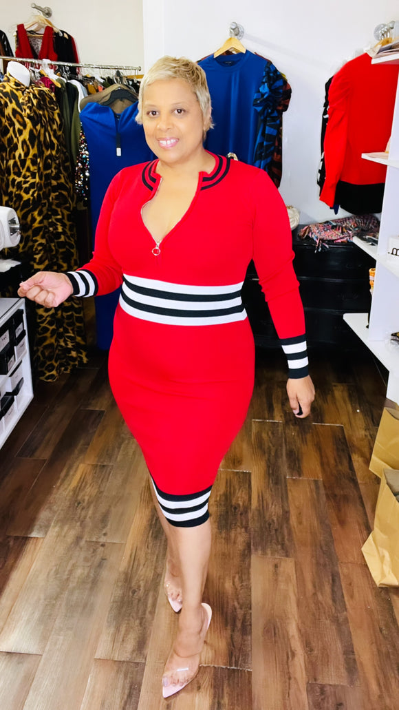 Red and Black Midi Dress with Multi stripes -  Mogul Boutique