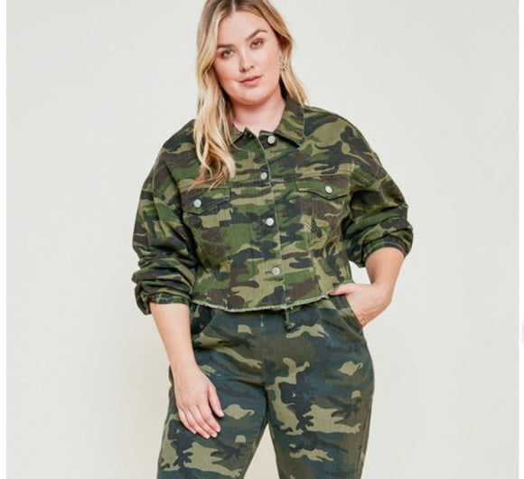 Plus Size Cropped Camo Jacket -  Mogul Boutique