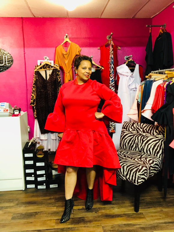 High Low Red Plus Size Dress with Ruffle -  Mogul Boutique