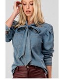 Denim Blouse with Neck Tie -  Mogul Boutique